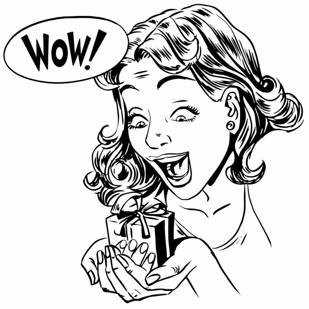 silueta dibujada de mujer una muy sorprendida, sosteniendo un anillo de compromiso, envuelto en una cajita de regalo